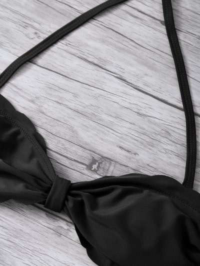 Scalloped Bandeau Bikini - BLACK S Mobile