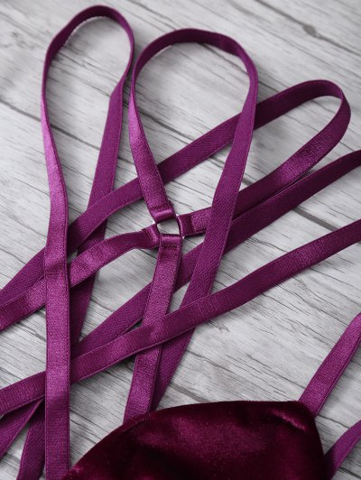 Strappy Gathered Cut Out Bra - WINE RED M Mobile
