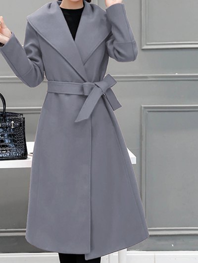 Wool Blend Shawl Collar Belted Coat - Gray