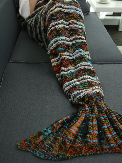 Knitted Sofa Sleeping Bag Mermaid Tail Blanket - COLORMIX  Mobile