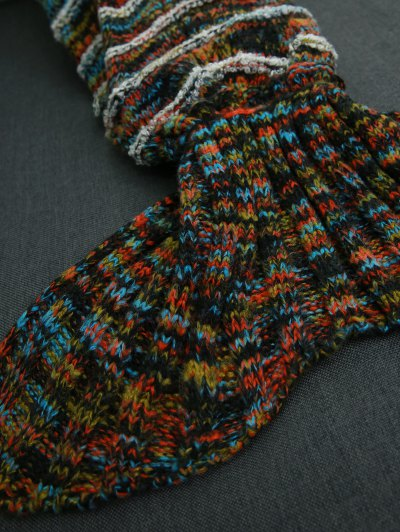Stripe Knitted Sofa Sleeping Bag Mermaid Blanket - COLORMIX  Mobile