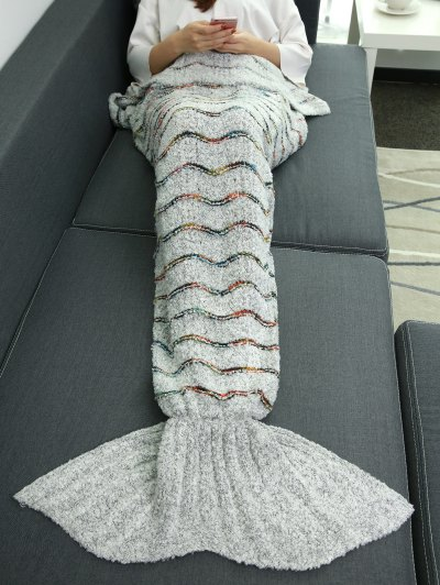 Striped Wrap Mermaid Tail Blanket - LIGHT GRAY  Mobile