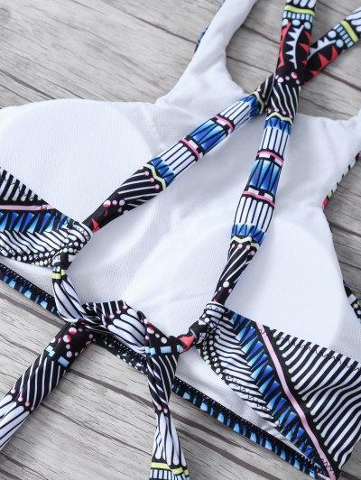 Printed High Neck Cross Back Bikini - COLORMIX S Mobile