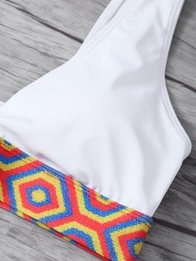 Straps Tribal Print Bikini - WHITE M Mobile
