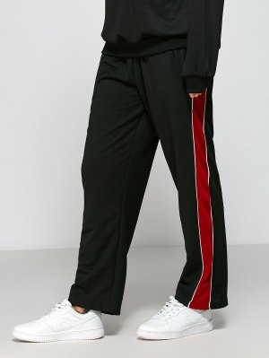 Color Block Fitting Track Pants - Black