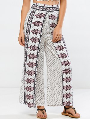High Rise Printed Palazzo Pants - White