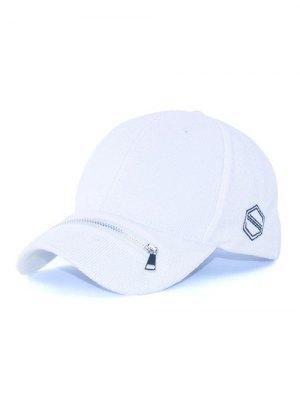 Outdoor Zipper S Letters Adjustable Baseball Cap - White