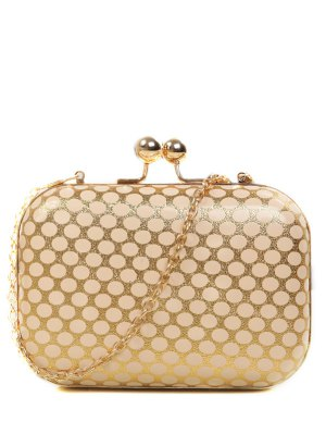 Polka Dot Métal Liss Verrouiller Evening Bag - Or