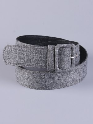 PU Leather Pin Buckle Belt - Gray