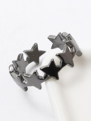 Polished Star Cuff Ring - Gun Metal