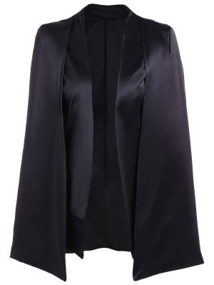 Collarless Work Cape Blazer - Black