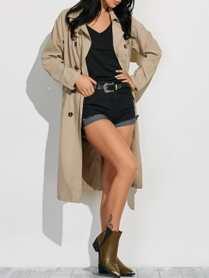 Belted Lapel Maxi Pea Trench Coat - Light Khaki