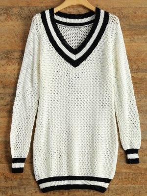 V Neck Furcal Sweater - White