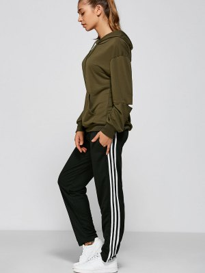 Black And White Striped Gym Pants - Black