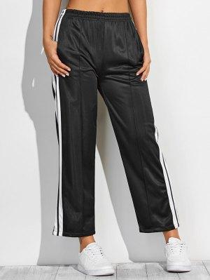 White Stripes Fitting Furcal Track Pants - Black
