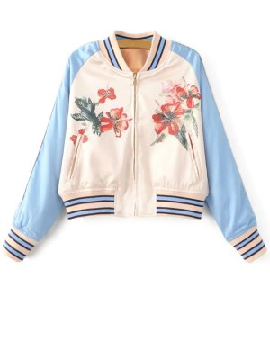 Floral Print Baseball Jacket - Blue And White