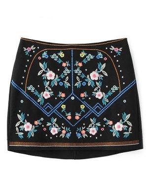 Floral Embroidered Sheathy Mini Skirt - Black