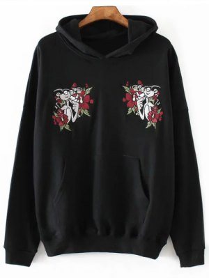 Pink Panther Embroidered Hoodie - Black