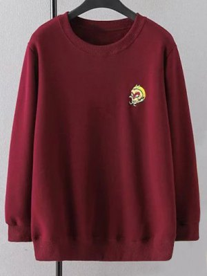 Plus Size Embroidered Crew Neck Sweatshirt - Wine Red