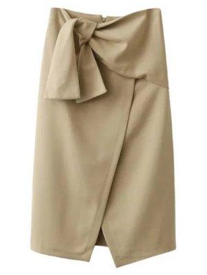 Tied Asymmetric Front Slit Skirt - Light Khaki