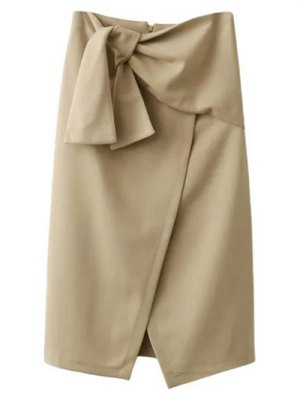 Tied Asymmetric Front Slit Skirt - Light Khaki
