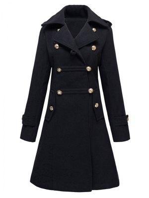 Woolen Double-Breasted Coat - Black