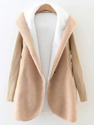 Hooded Fluffy Fleece Coat With Knit Sleeve - Khaki