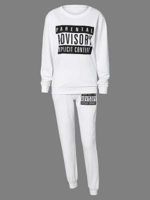 Letter Sweatshirt And Drawstring Sports Pants - White