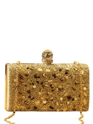 Rhinestones Metal Sequins Evening Bag - Golden