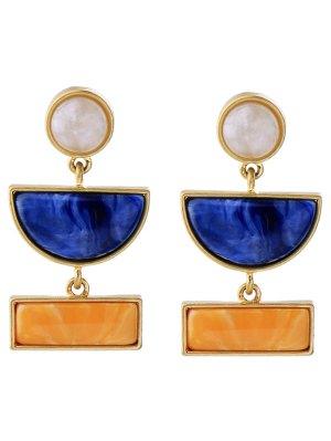 Geometric Fake Gemstone Drop Earrings - Golden