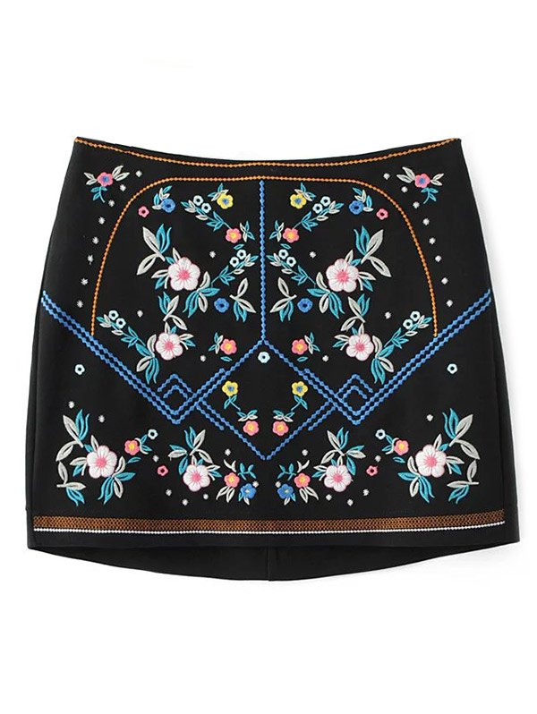 Floral Embroidered Mini Sheathy Skirt
