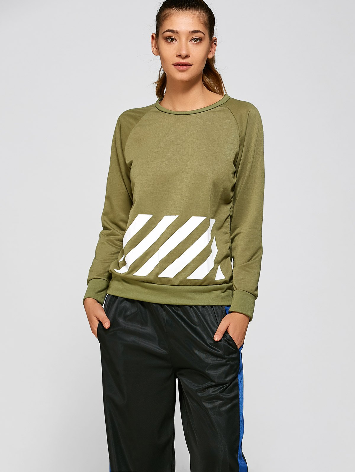 BF Style Printed Sports SweatshirtClothes<br><br><br>Size: L<br>Color: GREEN