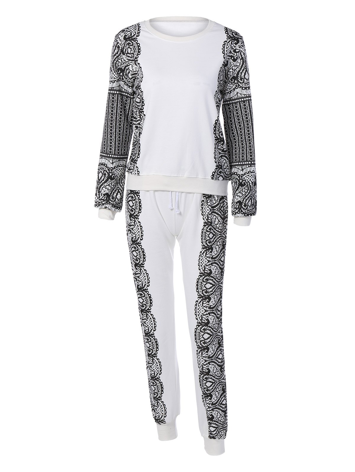 Sports Printed Sweatshirt and Drawstring PantsClothes<br><br><br>Size: L<br>Color: WHITE