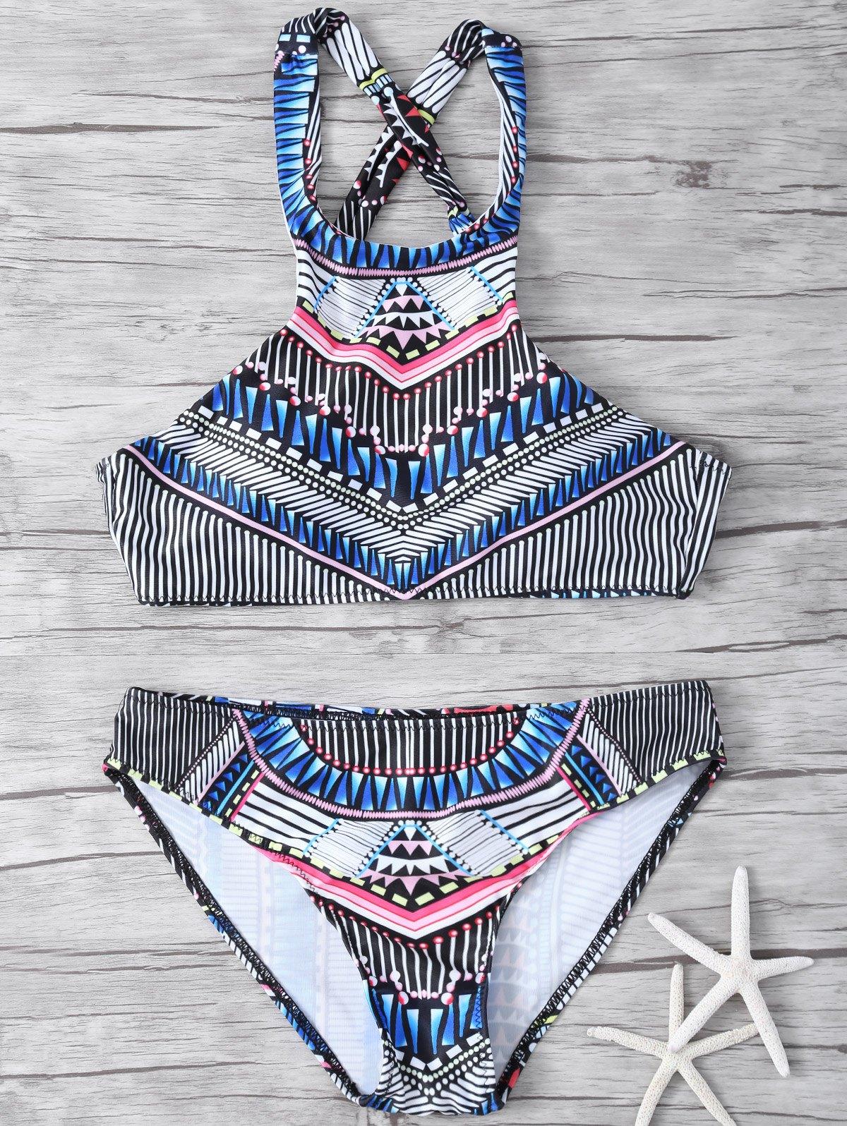 High Neck Printed Bikini Set