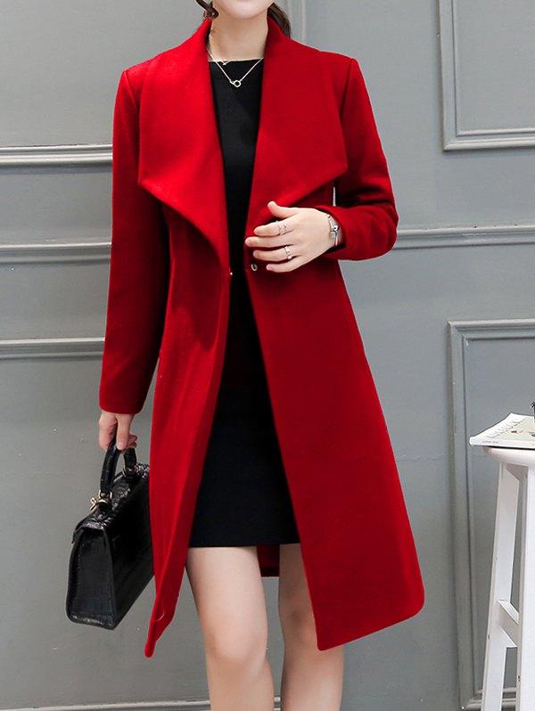 Drape Front Woolen Blend Belted Coat