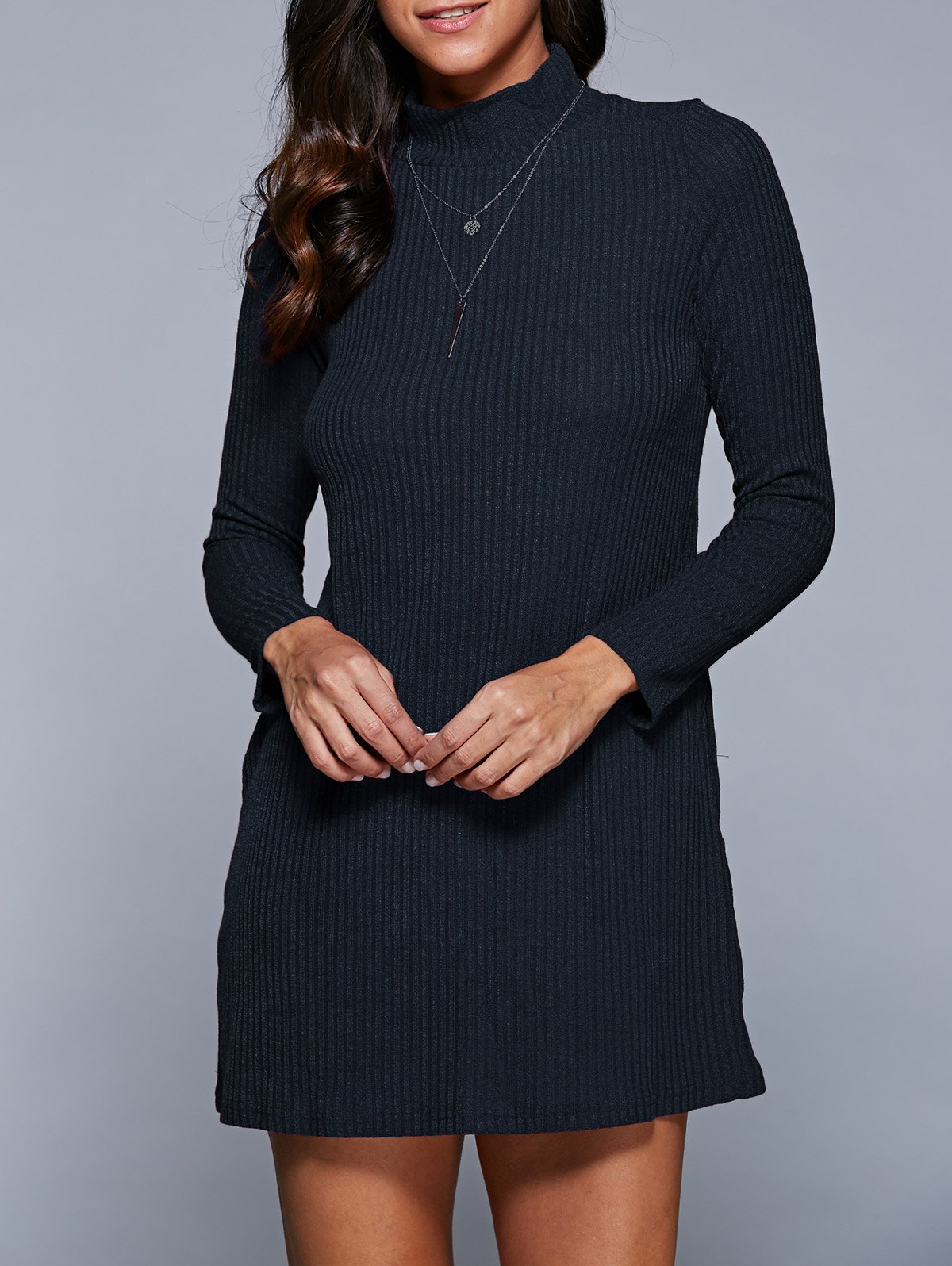 Long Sleeve Mini A Line Sweater Dress