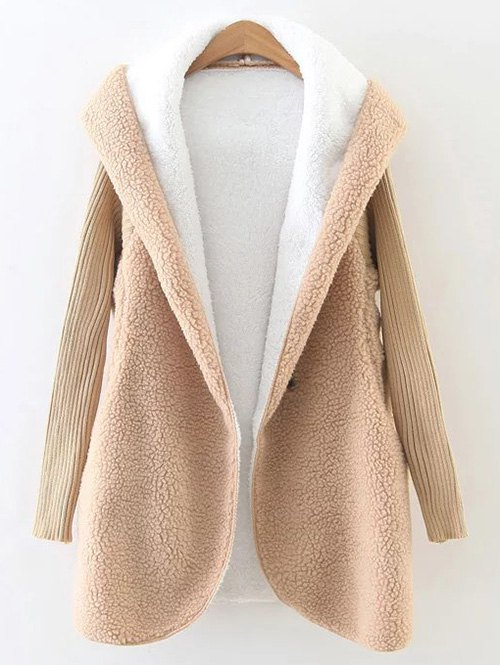 Hooded Fluffy Fleece Coat With Knit SleeveClothes<br><br><br>Size: ONE SIZE<br>Color: KHAKI