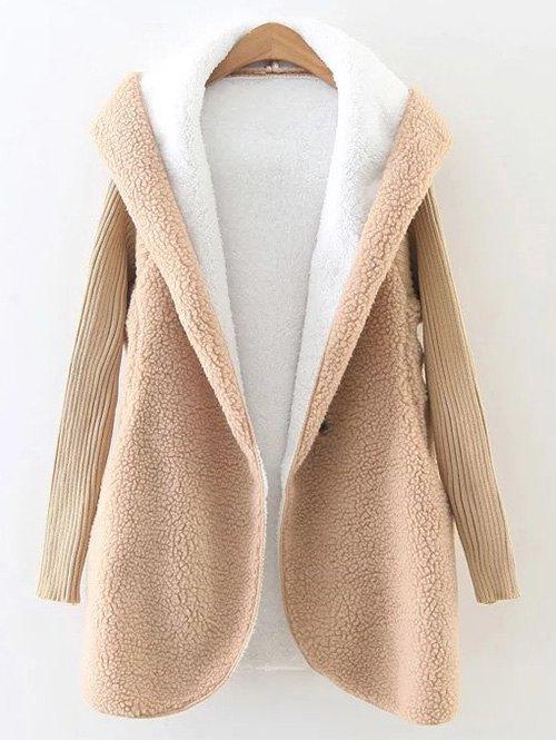 Hooded Knit Sleeve Fleece Coat