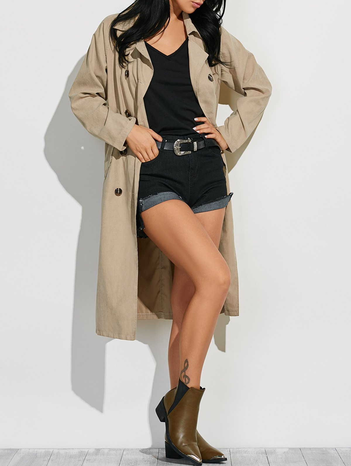 Lapel Belted Pea Trench Coat