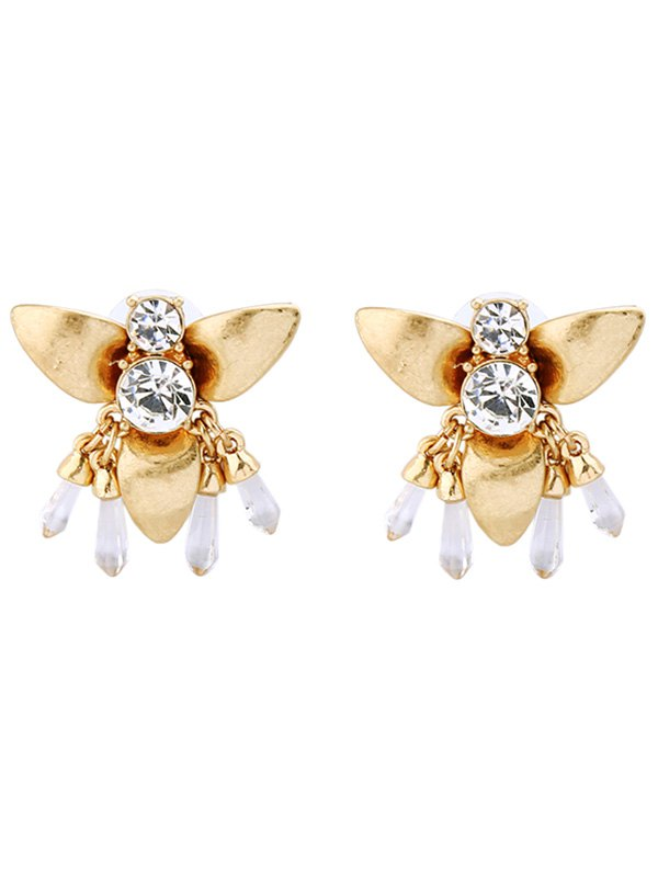Rhinestone Honeybee Shape Drop Earrings