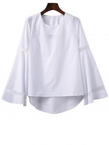 High Low Bell Sleeve Mesh Panel T-Shirt