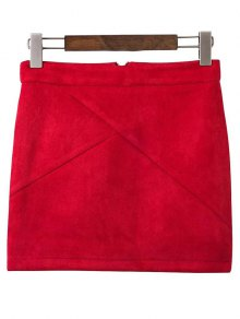 Mini Faux Suede Skirt - Wine Red M