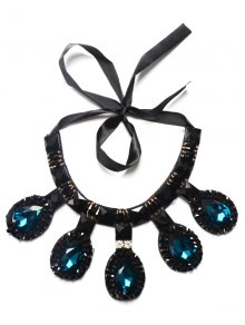 Buy Artificial Sapphire Rhinestone Water Drop Necklace BLUE