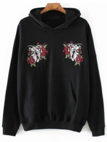 Pink Panther Embroidered Hoodie - Black M