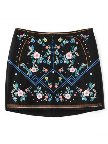 Floral Embroidered Sheathy Mini Skirt