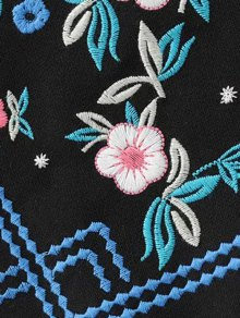 Floral Embroidered Sheathy Mini Skirt - BLACK S
