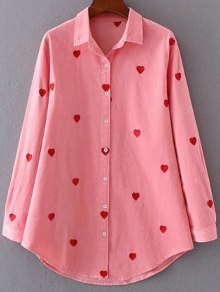 Heart Embroidered Corduroy Shirt - Pink