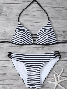 Stripes Halter Cutout Bikini