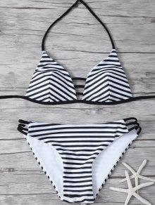 Stripes Halter Cutout Bikini - White And Black S