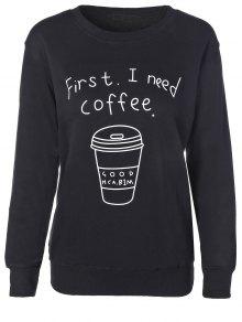 Taza De Café De La Camiseta De La Letra - Negro M